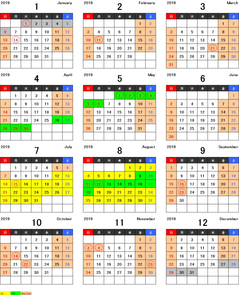 本州シーズンカレンダー2019